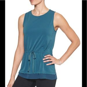 BananaRepublic sleeveless blue tunic w/ tie waist